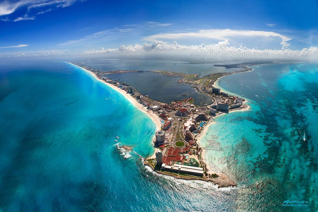 an aerial view of Cancun