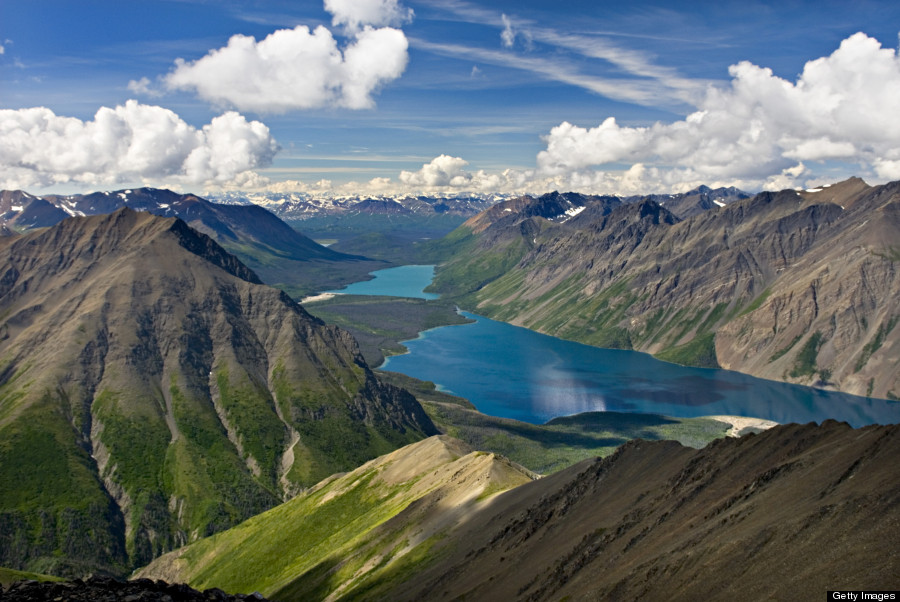 View of Kathleen Lake from Kings Throne Mountain, Kluane National Park, Yukon, Canada