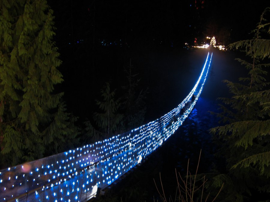 Capilano Suspension Bridge invites you to Canyon Lights, a winter celebration of light. Cross the suspension bridge to Treetops Adventure and explore the forest from yet another perspective at night. Enjoy the Christmas Band, dressed in historical winter costumes, performing every evening at 5:30pm, 6:30pm, 7:30pm and 8:30pm. Glass blower Malcolm Macfadyen will add extra twinkle, teaching guests how to make glass icicle ornaments. Another highlight is the spectacular maple tree, draped in an extravaganza of colour. Canyon Lights features over 250,000 twinkling lights throughout the park. http://www.capbridge.com/