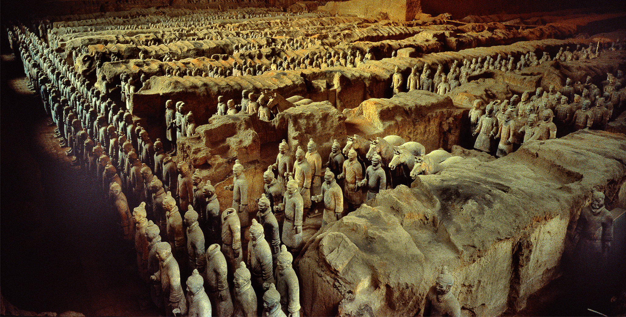 Longbow archers stand in front rows of China's great terracotta army.