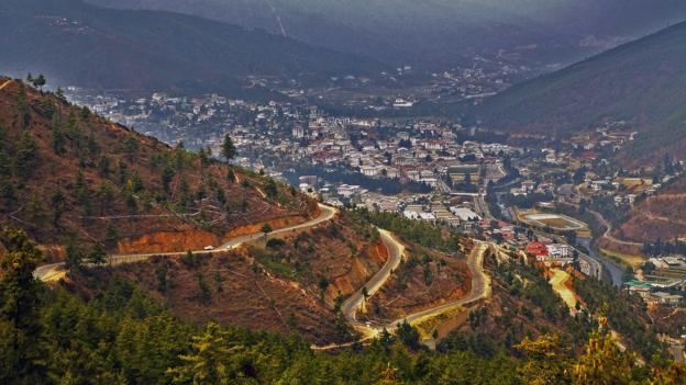 Thimphu view, Bhutan. Thimphu is the capital and largest city of Bhutan.