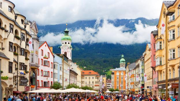 Innsbruck, Austria in Summer with mountains in the rear.. Image shot 2010. Exact date unknown.